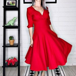 Unique Vintage 1950s Red Delores Swing Dress NWT